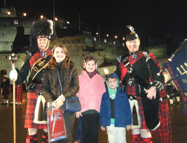 Jim and Davie with some lucky visitors to the Edinburgh Military Tattoo 2011