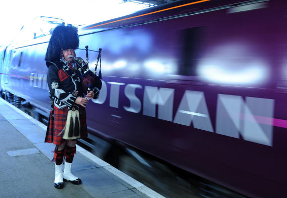 Jim pipes out the Flying Scotsman