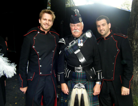 Jim with two of the Secret Drum Corps Basel Tattoo 2011
